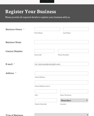 Responsive Business Registration Form