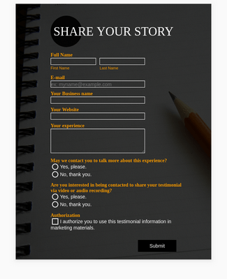 Responsive Share Your Story Form