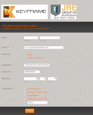 KeyFrame Club Membership Registration Form