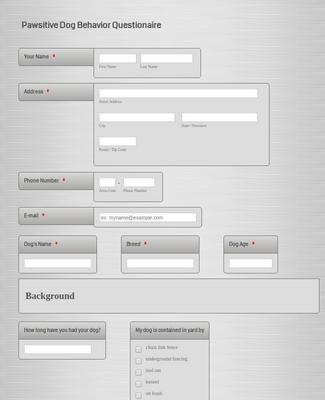 Pawsitive Behavior Questionnaire