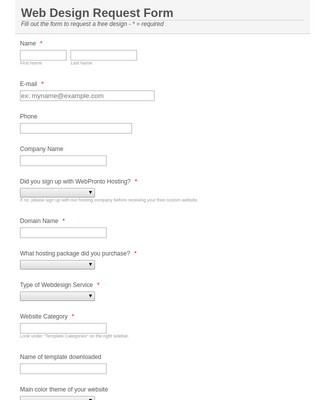 Website Design Request Form 12