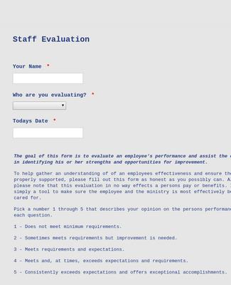 Staff Evaluation Form