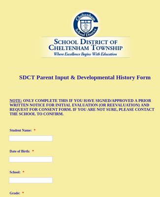 Parent Input Form for Schools/Evals