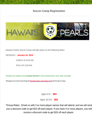 Sports Summer Camp Registration Form