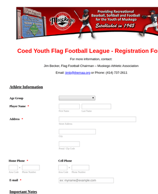 MAA Flag Registration Form