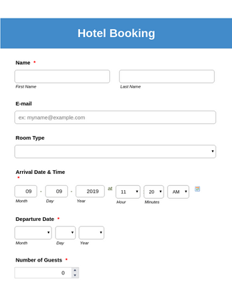 Hotel Booking Form - Deep Blue Theme