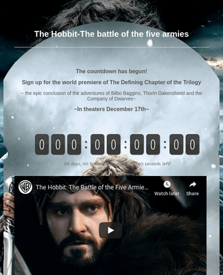 The Hobbit-The battle of the five armies SIGNUP FORM