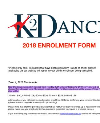 Enrolment Form Dance