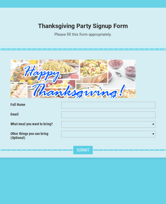Thanksgiving Party Signup Form