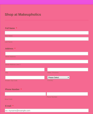 Makeupholics Order Form