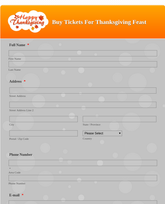 Thanksgiving Buy a Ticket Form