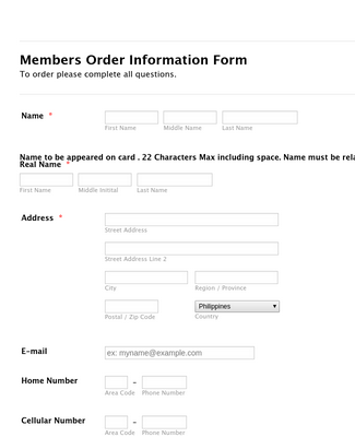 Membership Order Information Form