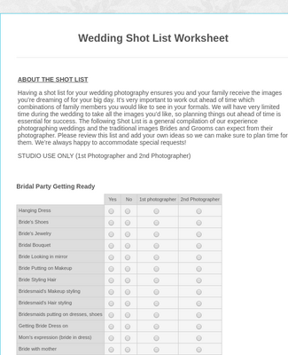 Wedding Shot List Worksheet 2