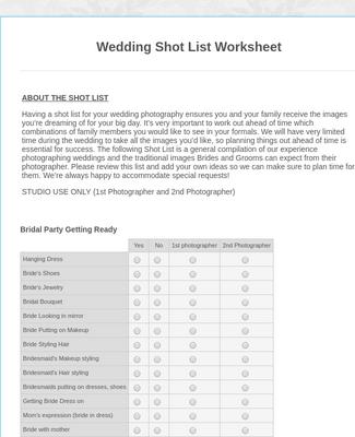 Wedding Shot List Worksheet