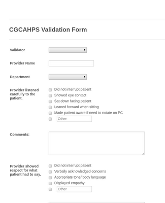 CGCAHPS Validation Form