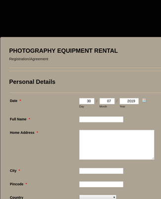 Photography Equipment Rental Registration