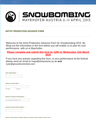 Snowbombing 2015 Artist Production Form