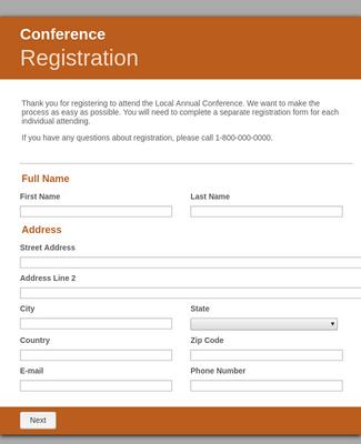 Conference Online Registration Form Template Jotform