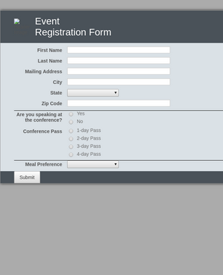 Event Registration Form 2