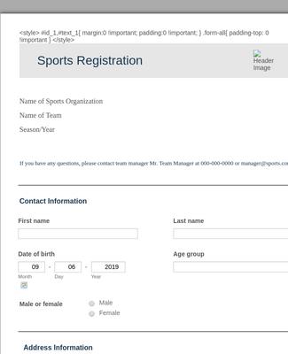 Sports Registration
