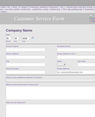 Customer Service Form 2
