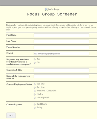 Focus Group Screener Form
