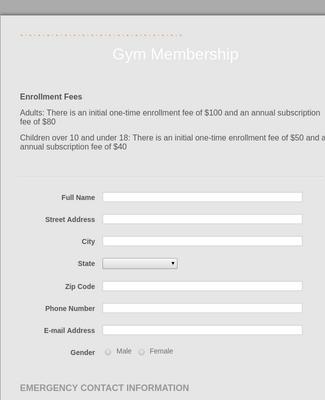Gym Membership Form