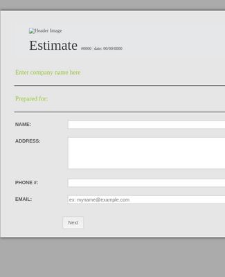 Service Estimate Form