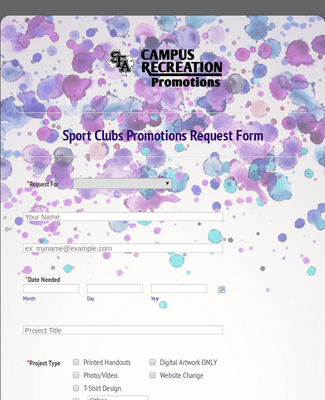 Sport Clubs Promo Request  SFAREC