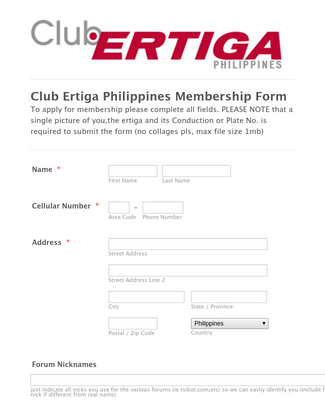 Club Membership Form