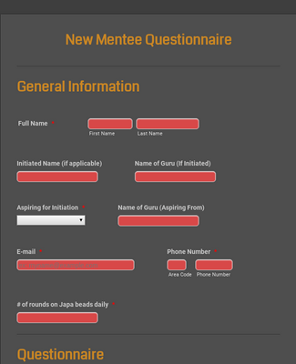 New Mentee Questionnaire