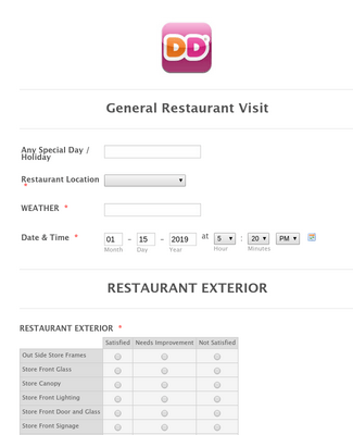 Restaurant Visit Survey Form