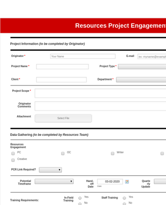 Project Resource Request Form