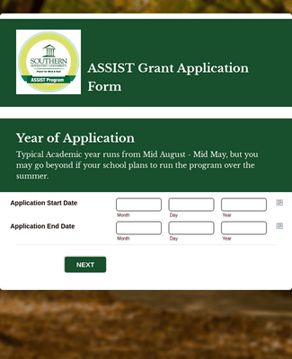 Student Assistant Application Form