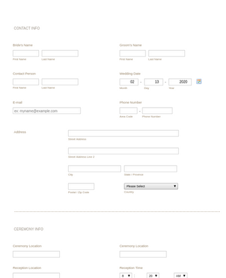 Wedding Consultation Form Template