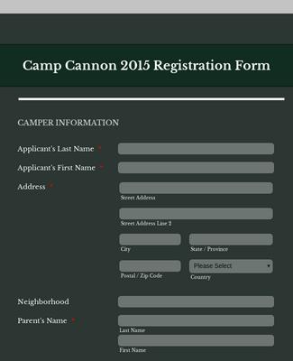 Camper Event Registration Form