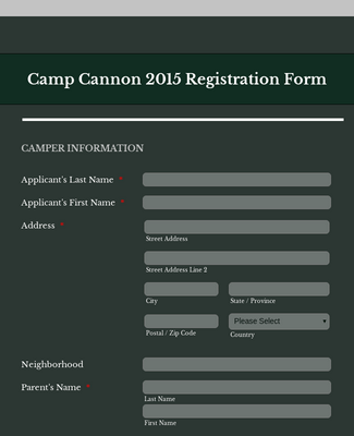 Camper Event Registration Form