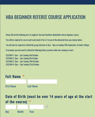 Referee Course Application