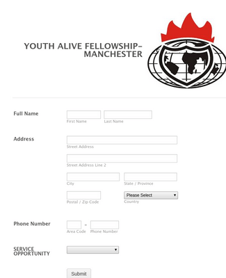 Youth Alive Fellowship Registration