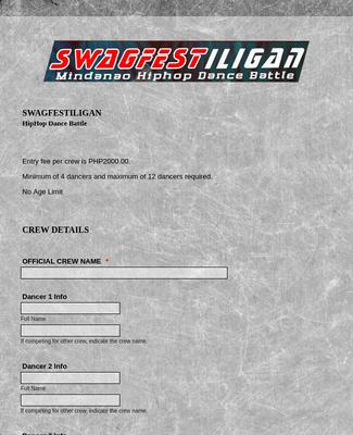 Hiphop Dance Registration Form
