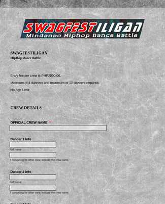 Hiphop Dance Registration Form