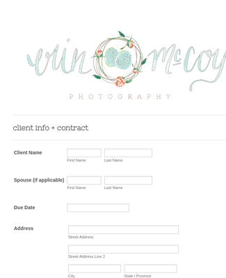 Photography Contact Form