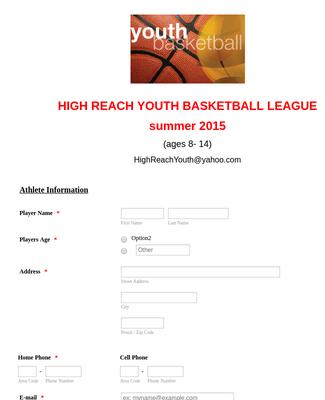 Basketball Contest Registration Form