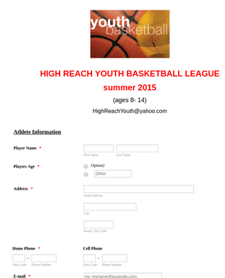 Basketball League Registration Form