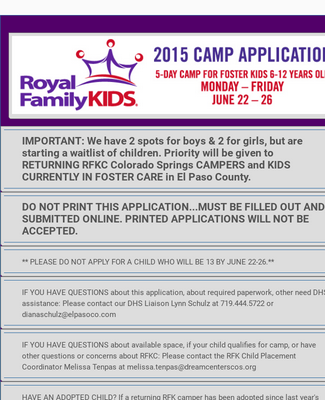 Kids Summer Camp Registration Form