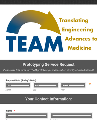 Team Prototyping Service Request Form (TEAM)