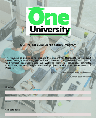 ONE UNIVERSITY MS PROJECT TEMPLATE