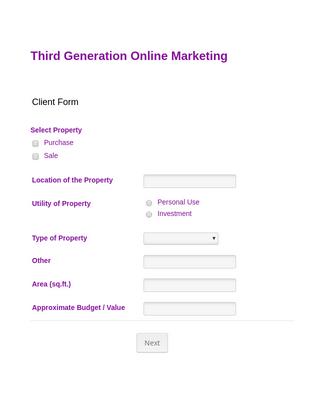 Marketing Client Registration Form