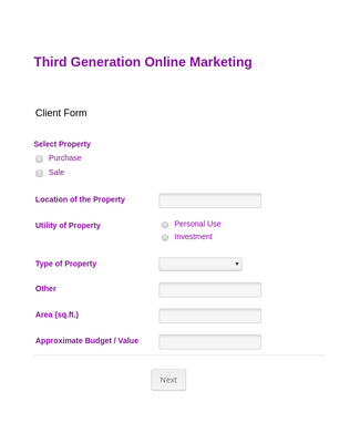 Marketing Client Registration Form