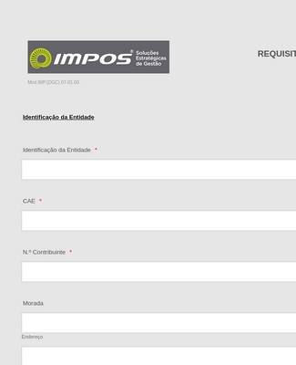 Proposal Requirements Form in Portuguese